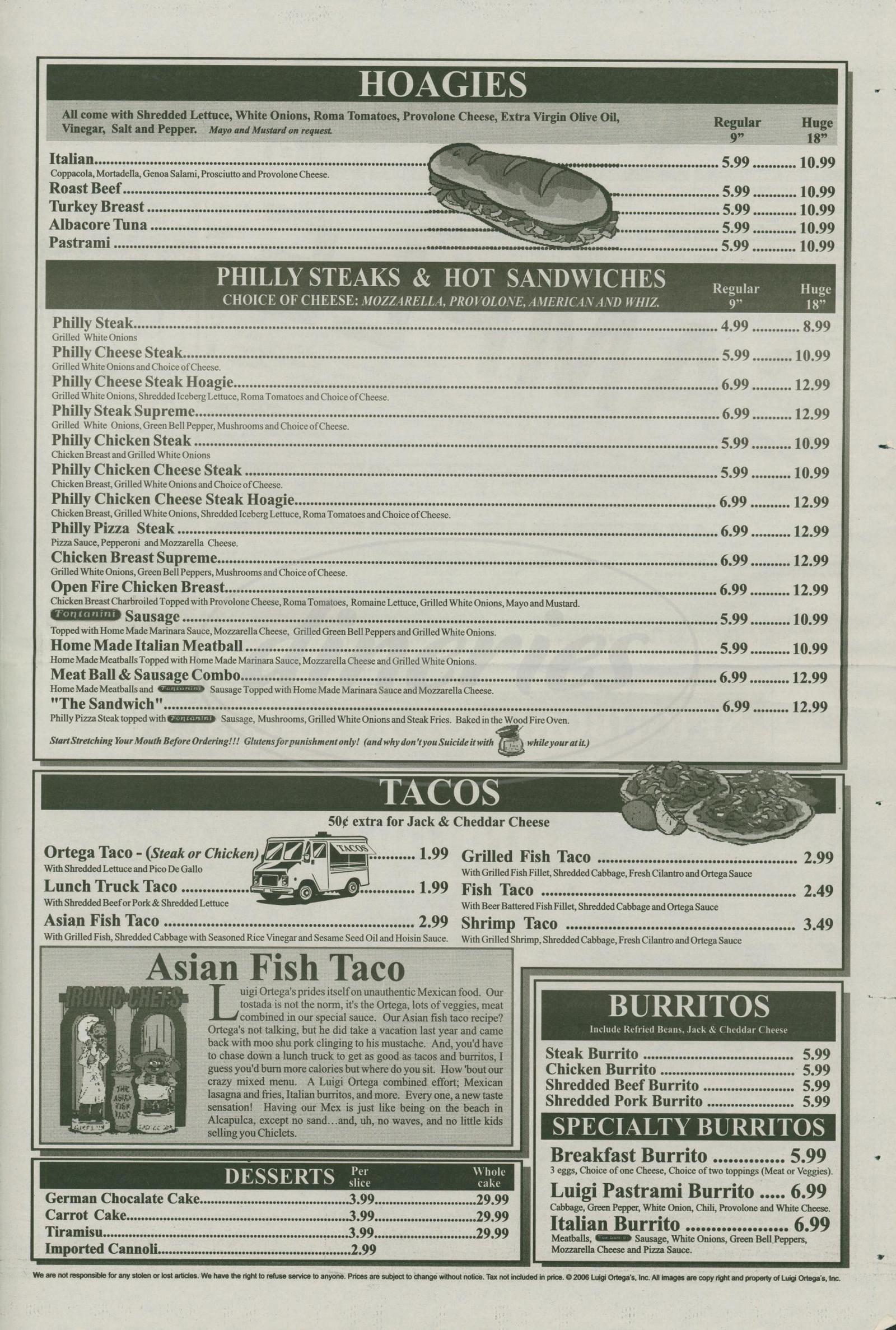 menu for Luigi Ortega