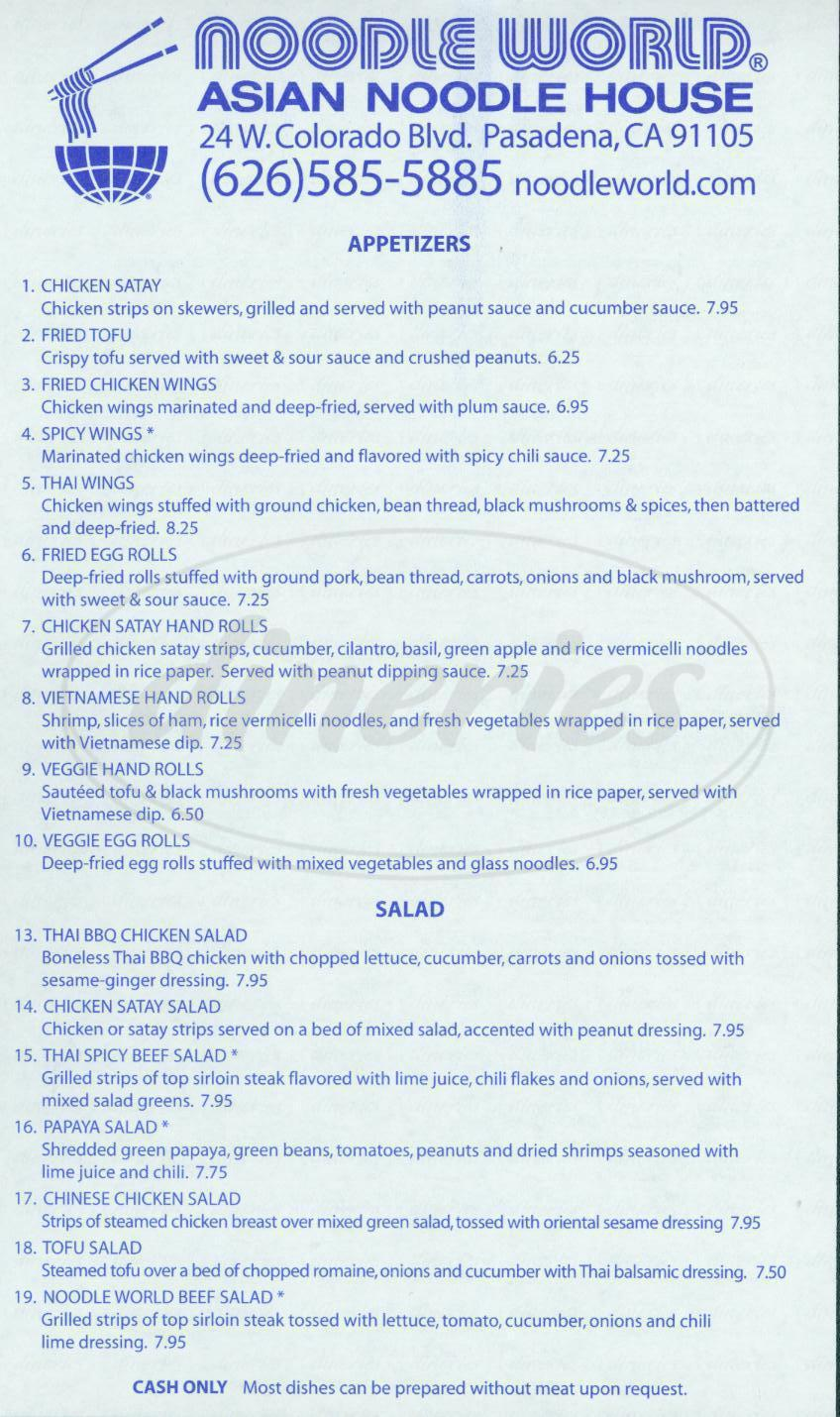 menu for Noodle World