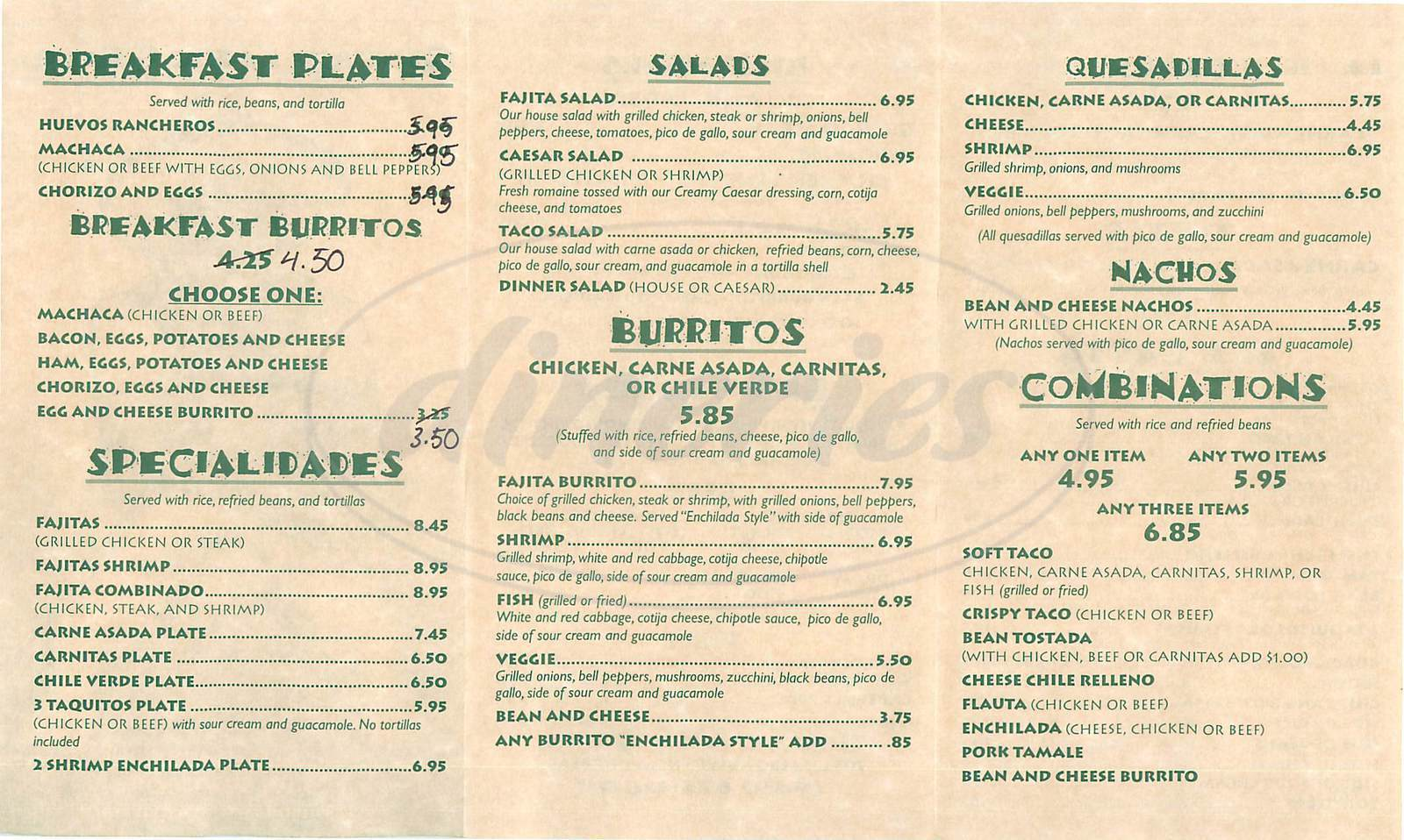 menu for Great Mex Grill