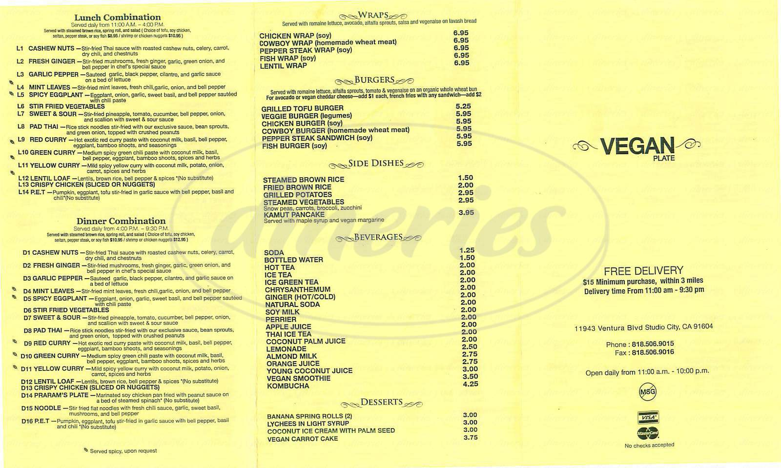 menu for Vegan Plate