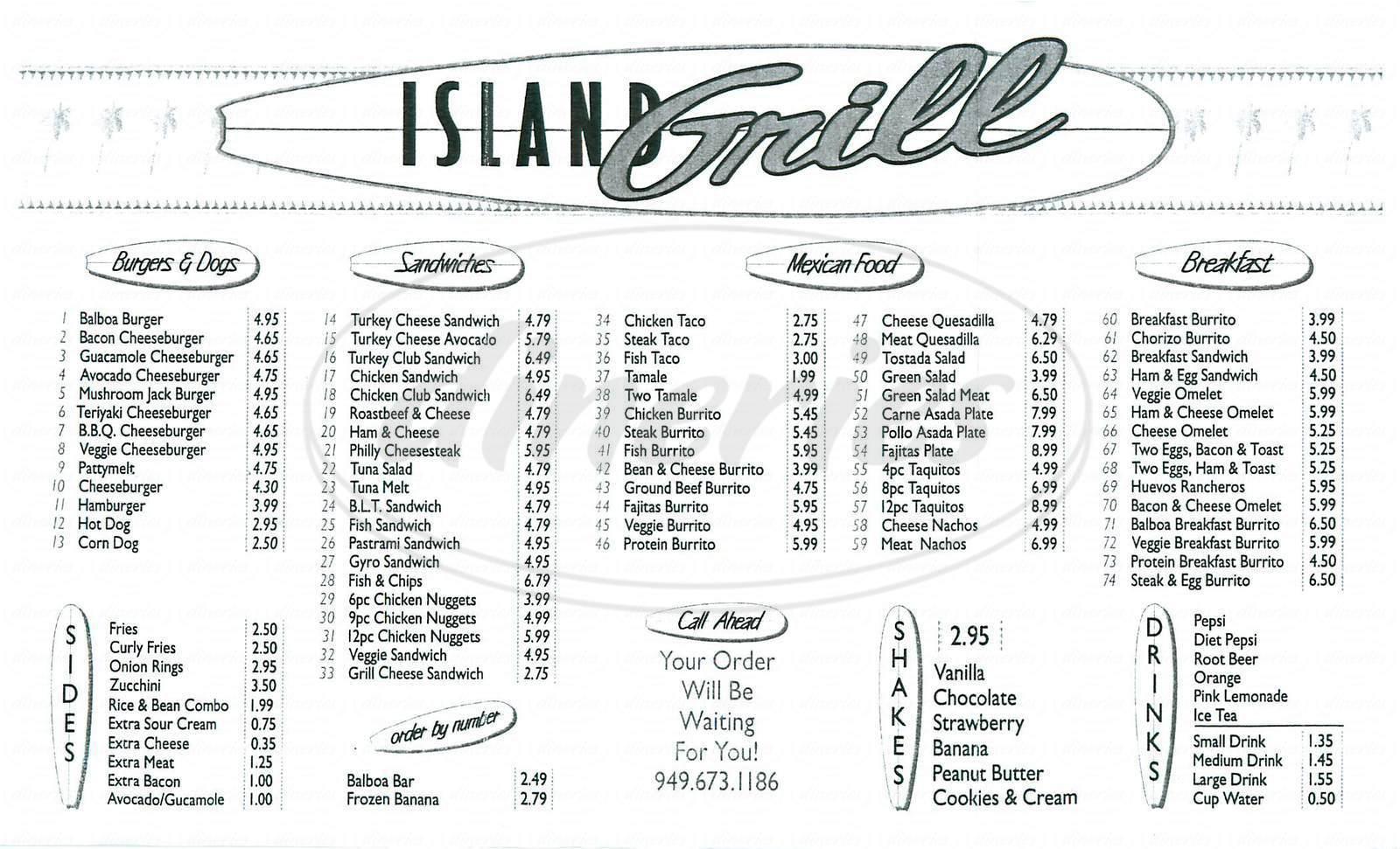 menu for Island Grill