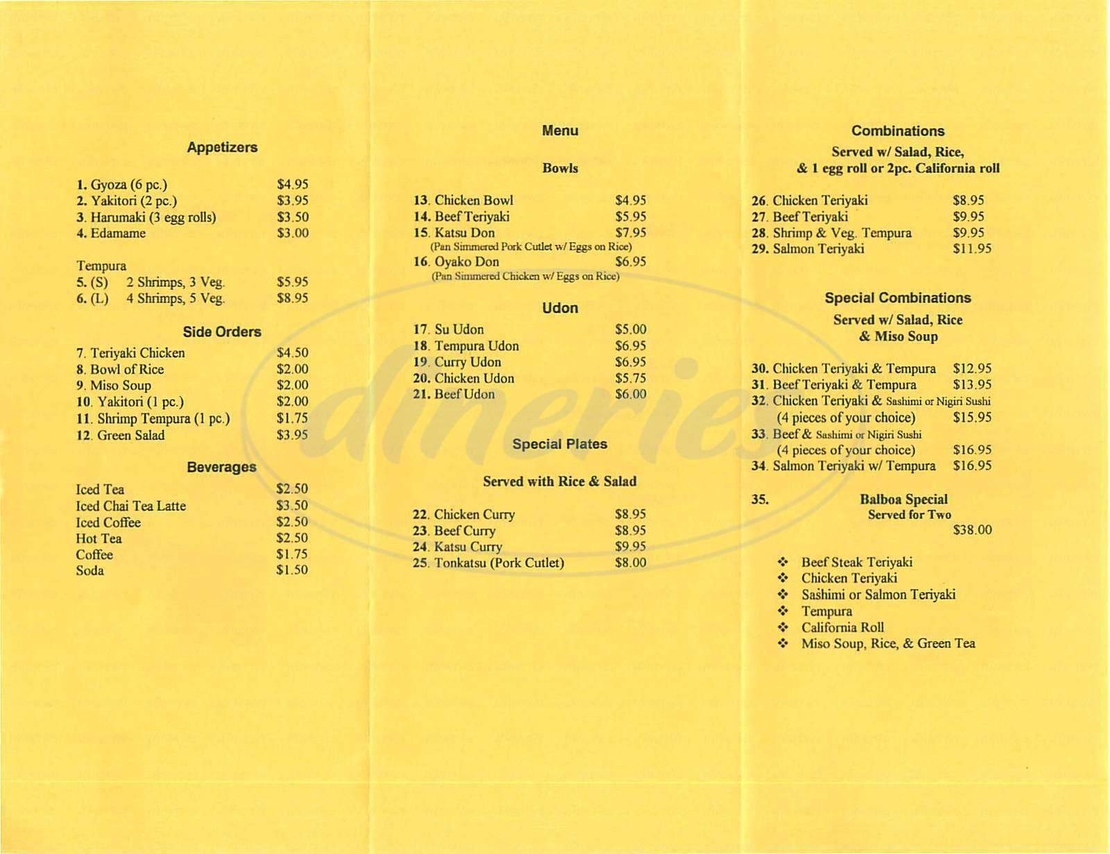 menu for Macksan's Cafe