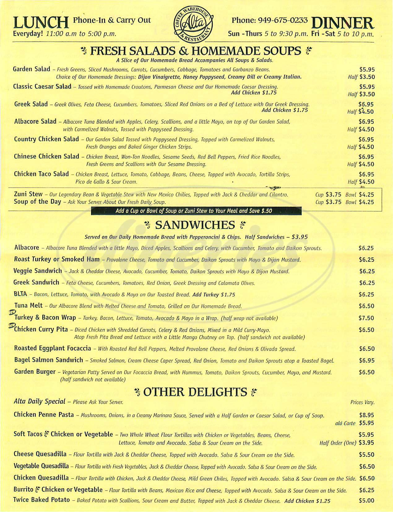 menu for Alta Coffee & Roasting Co