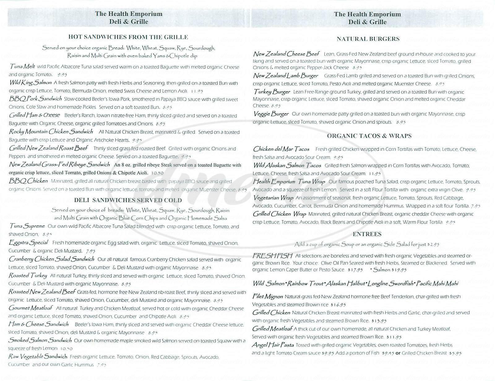 menu for The Health Emporium