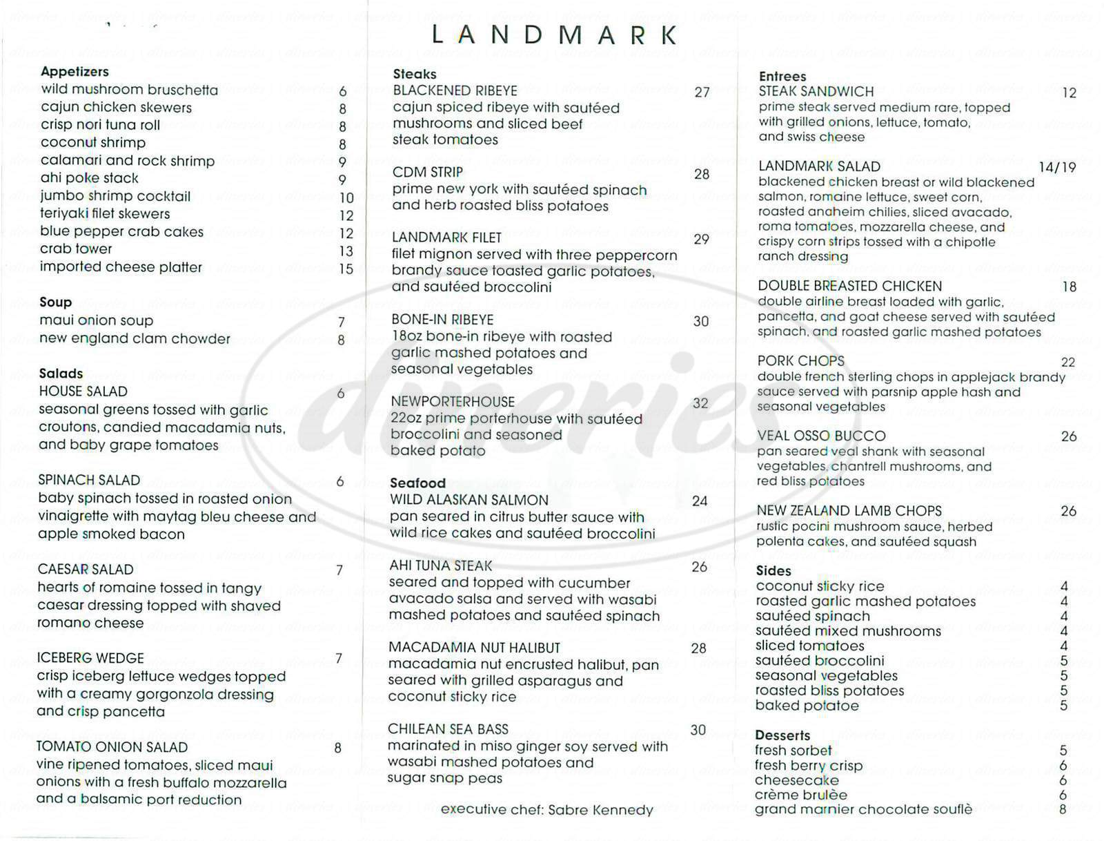 menu for Landmark Steakhouse