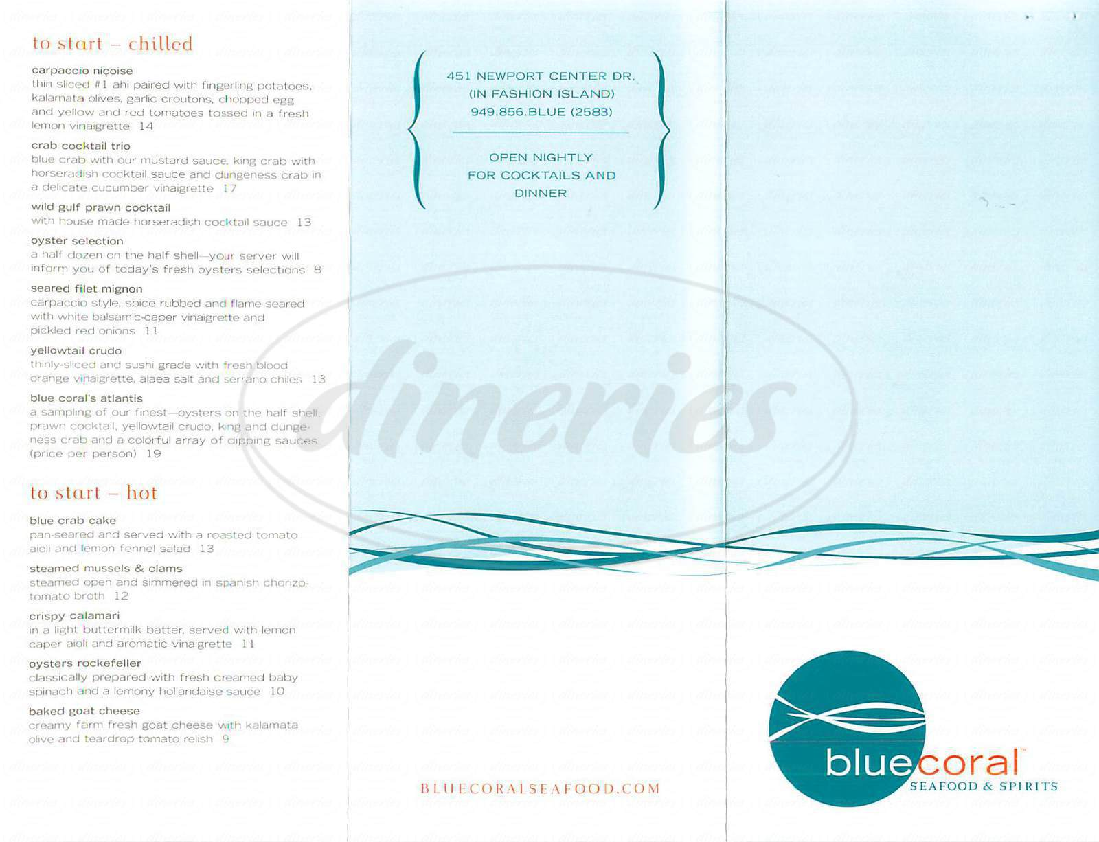 menu for Blue Coral Seafood