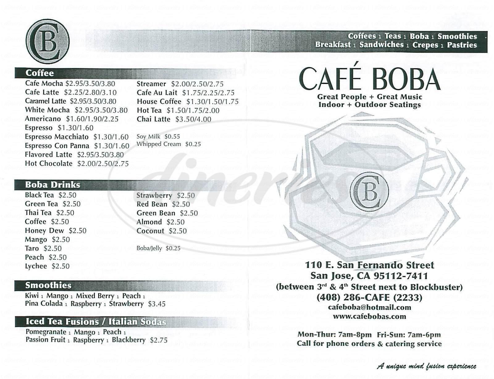 menu for Cafe Boba