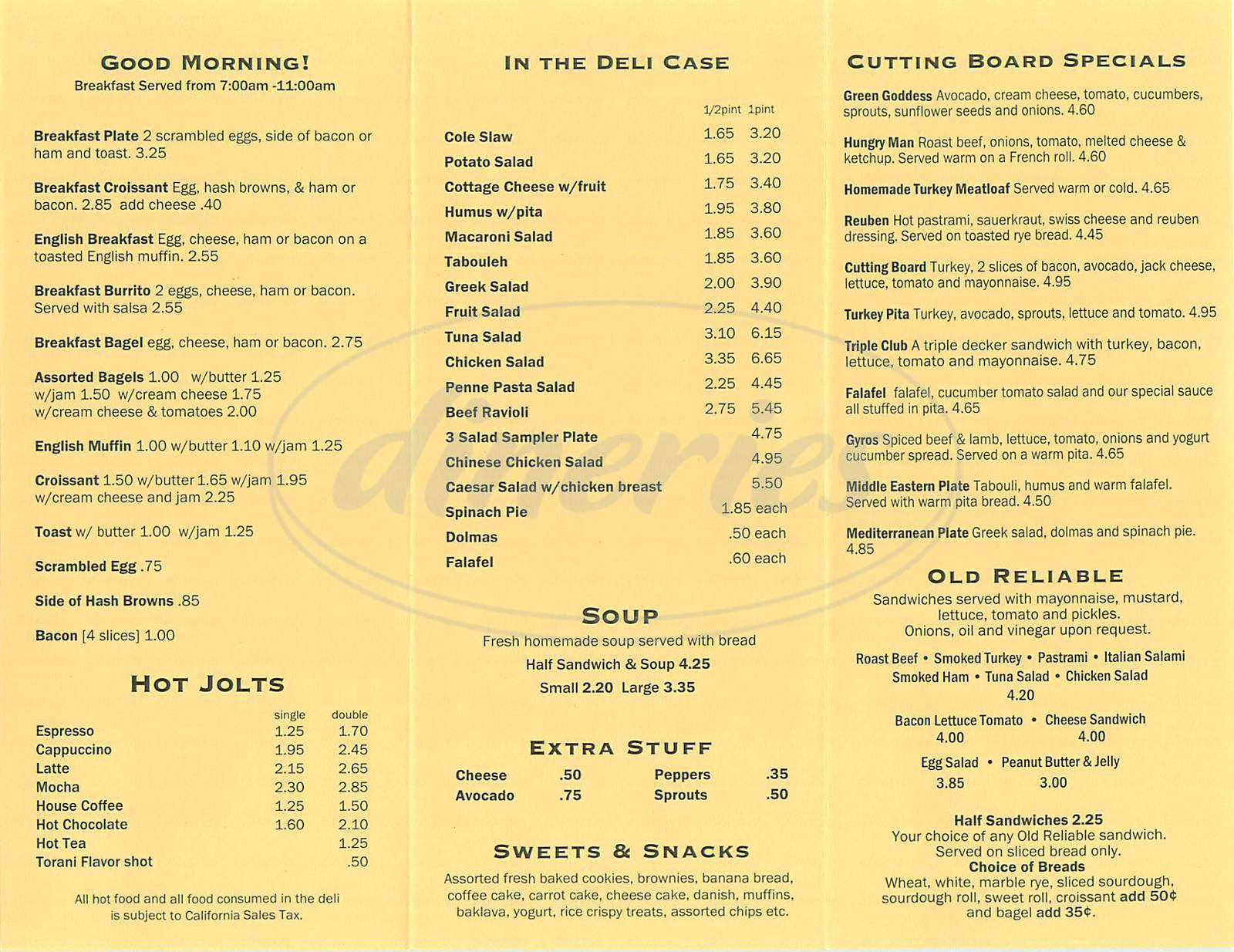 menu for Cutting Board Deli