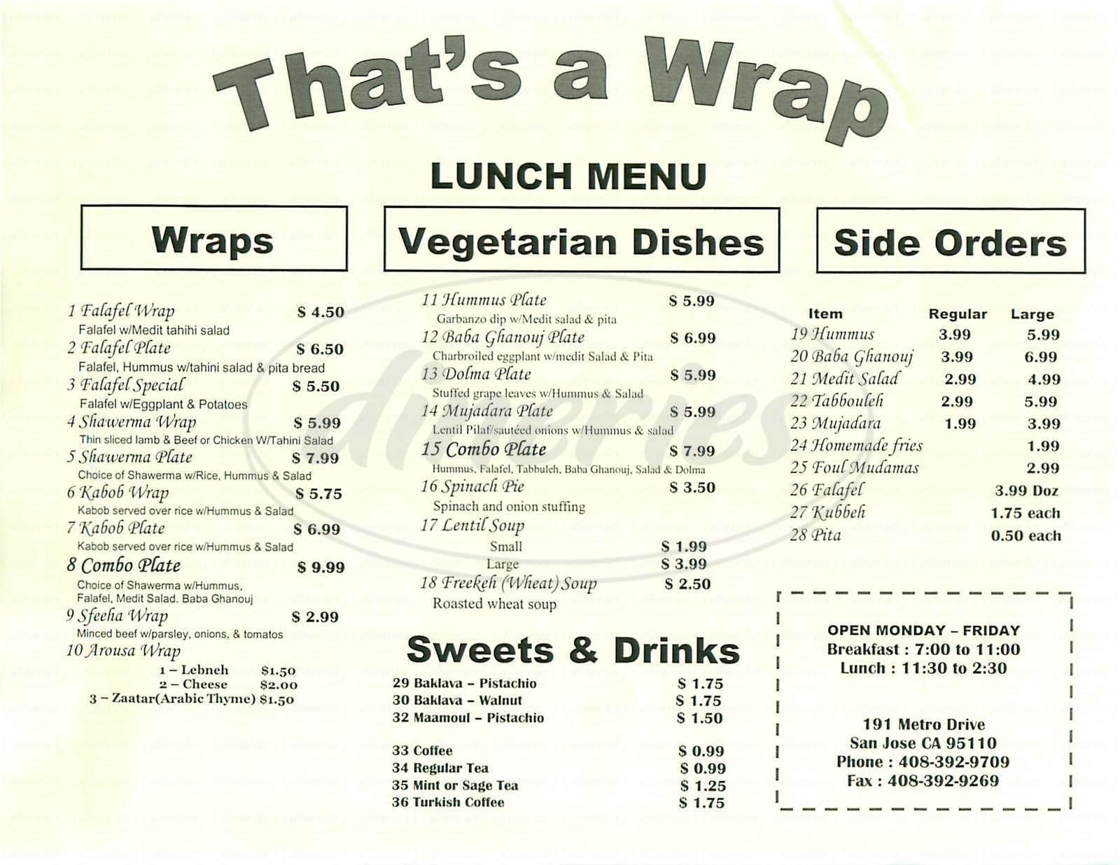 menu for That's a Wrap