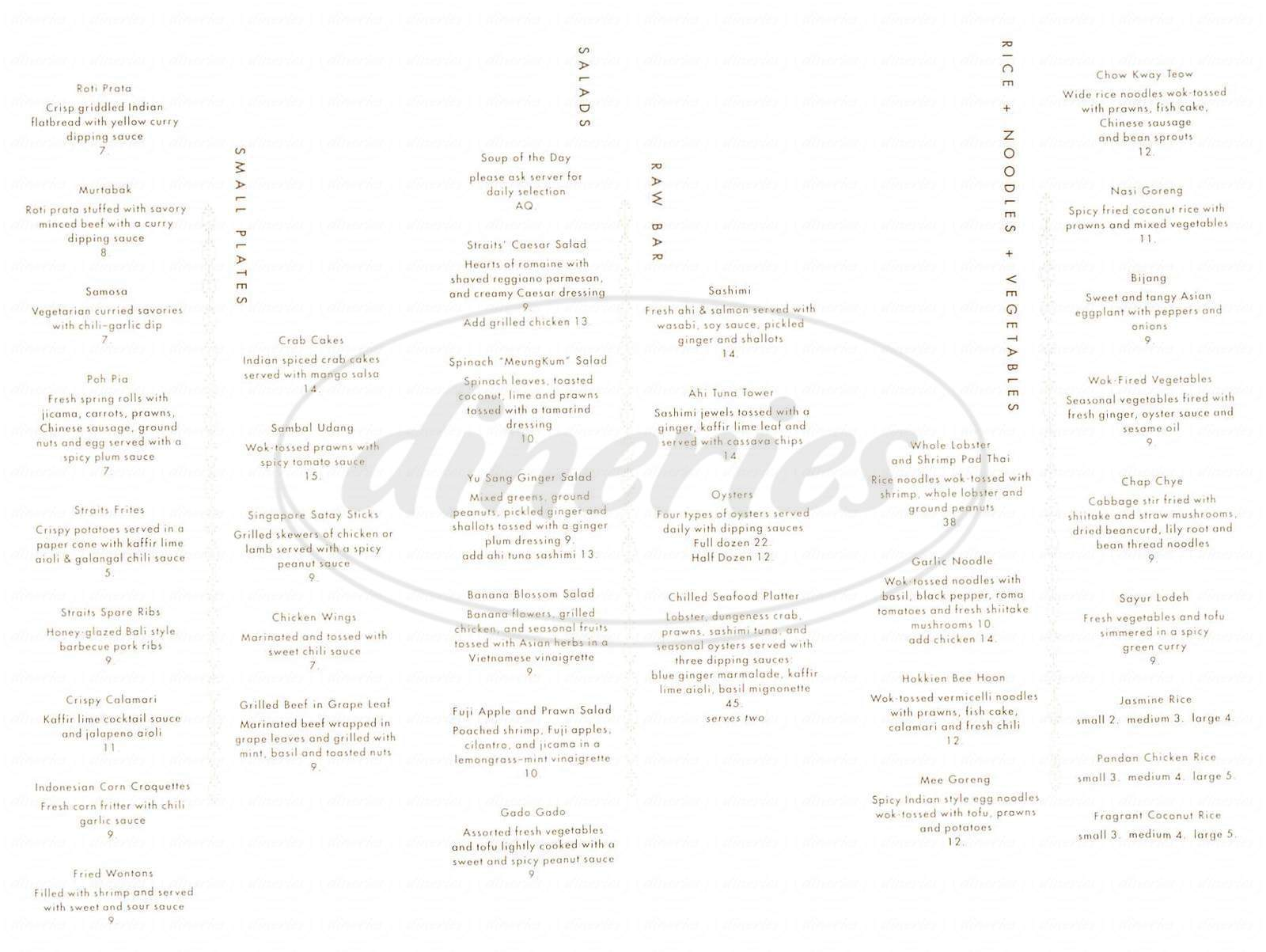 menu for Straits Restaurant