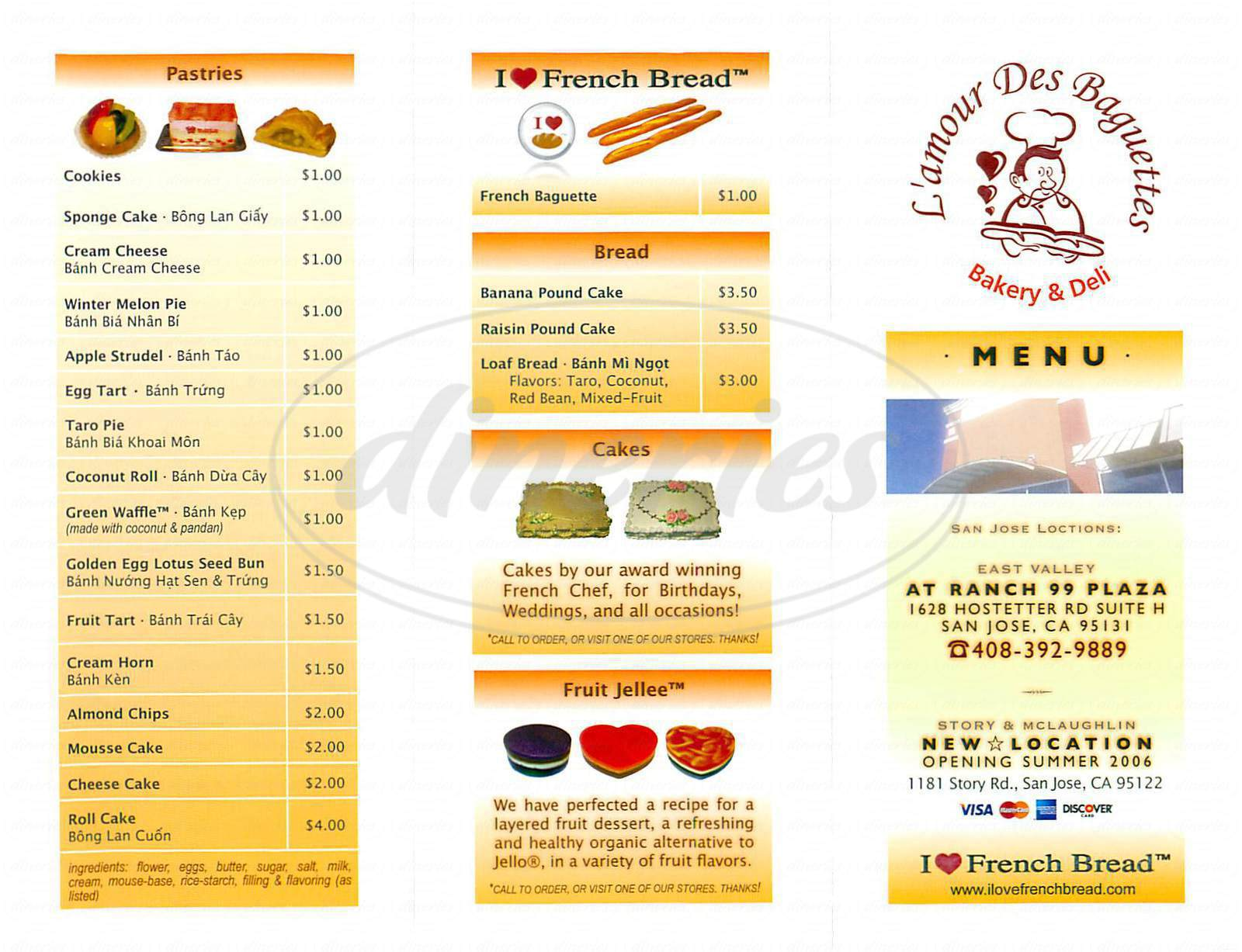 menu for L'amour Des Baguettes