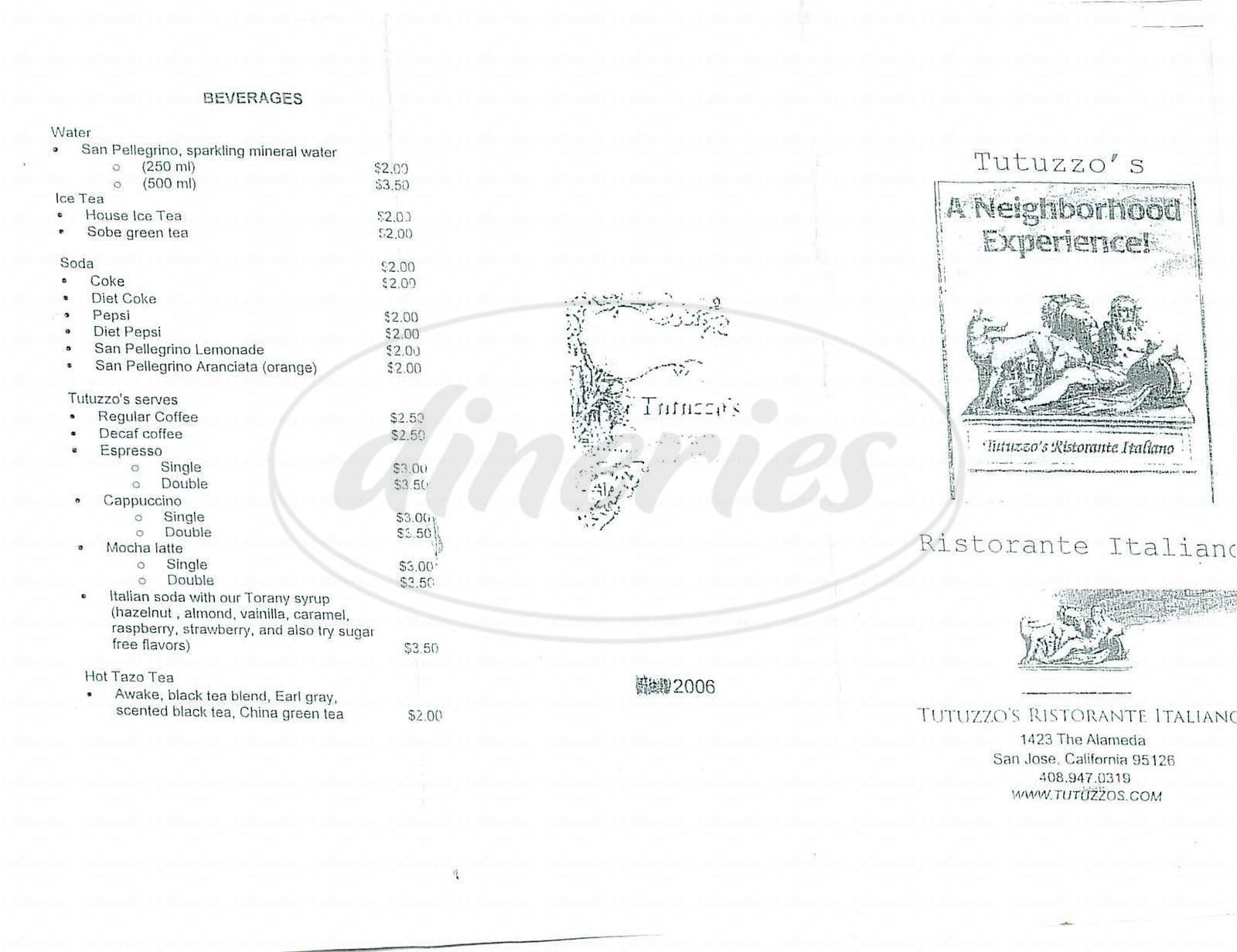 menu for Tutuzzo's Ristorante