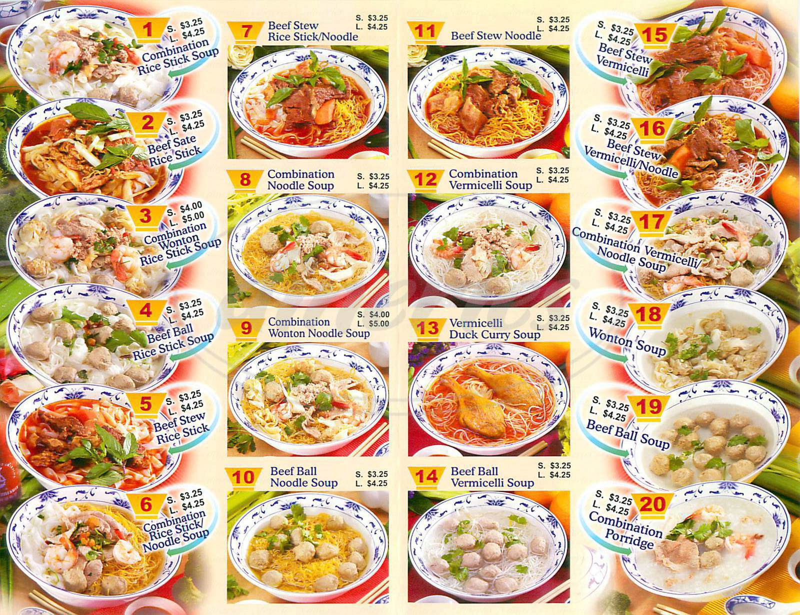 menu for TK Noodle