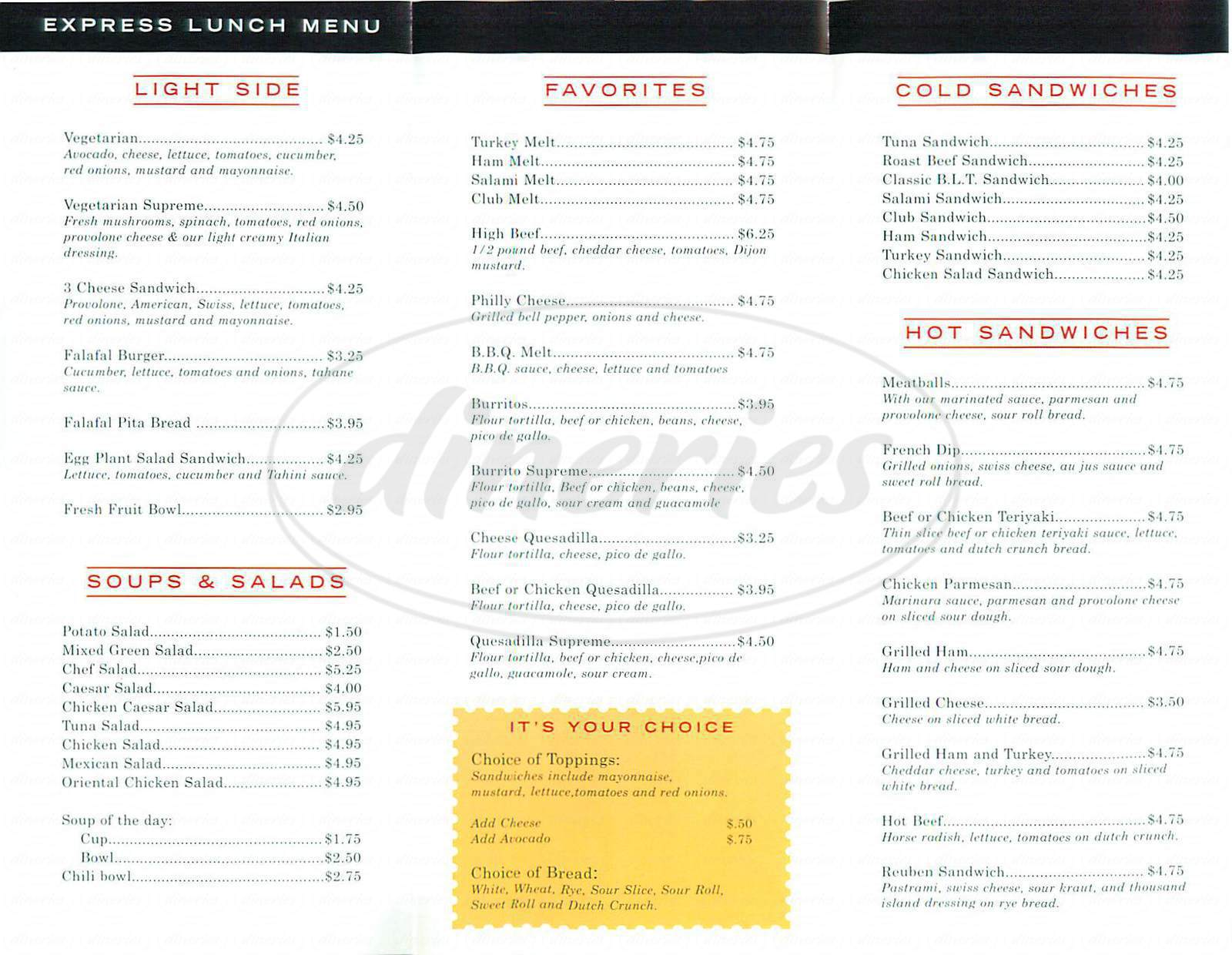 menu for Express Deli & Cafe