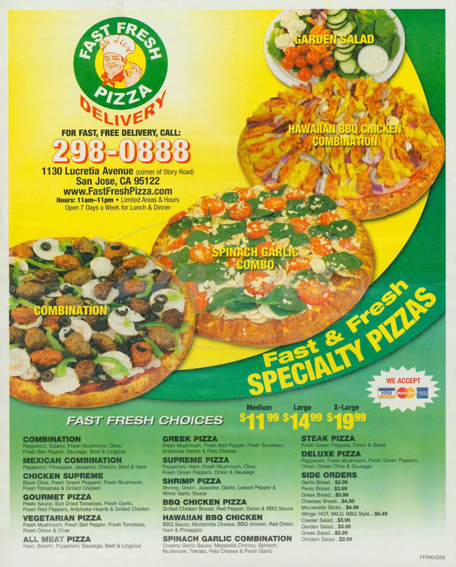 menu for Fast Fresh Pizza
