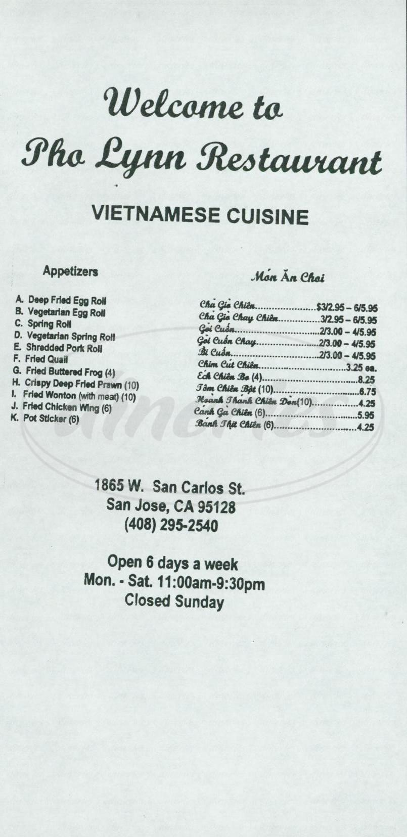 menu for Pho Lynn Restaurant