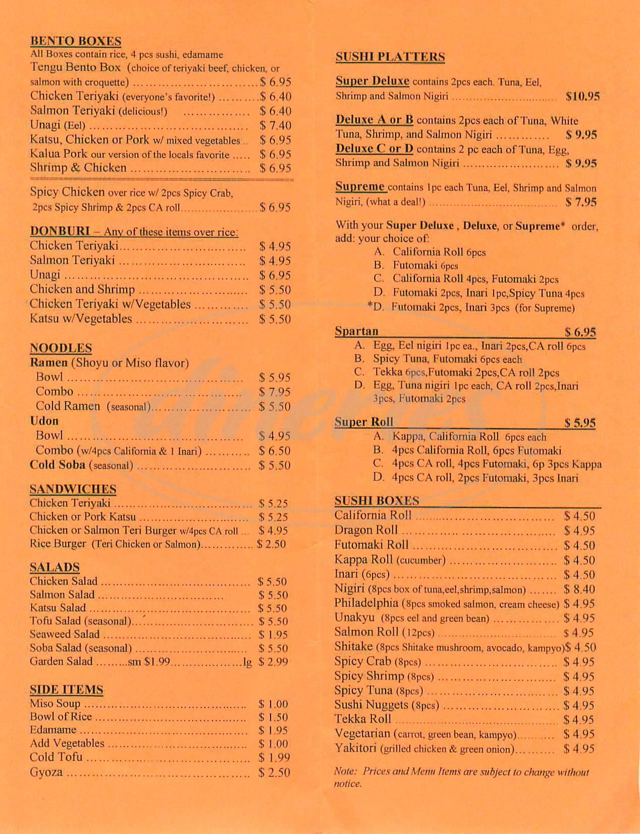 menu for Tengu Sushi