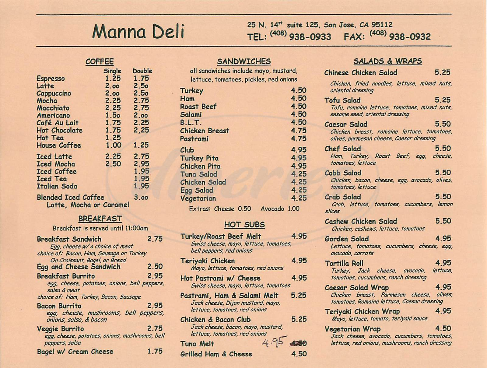 menu for Manna Deli