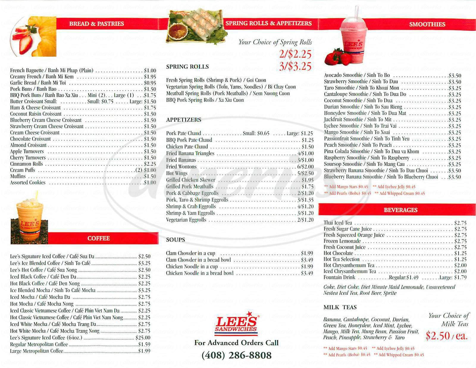 Lee s Sandwiches Menu San Jose Dineries