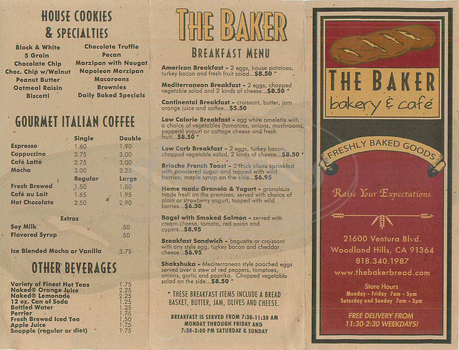 menu for The Baker Bakery & Cafe