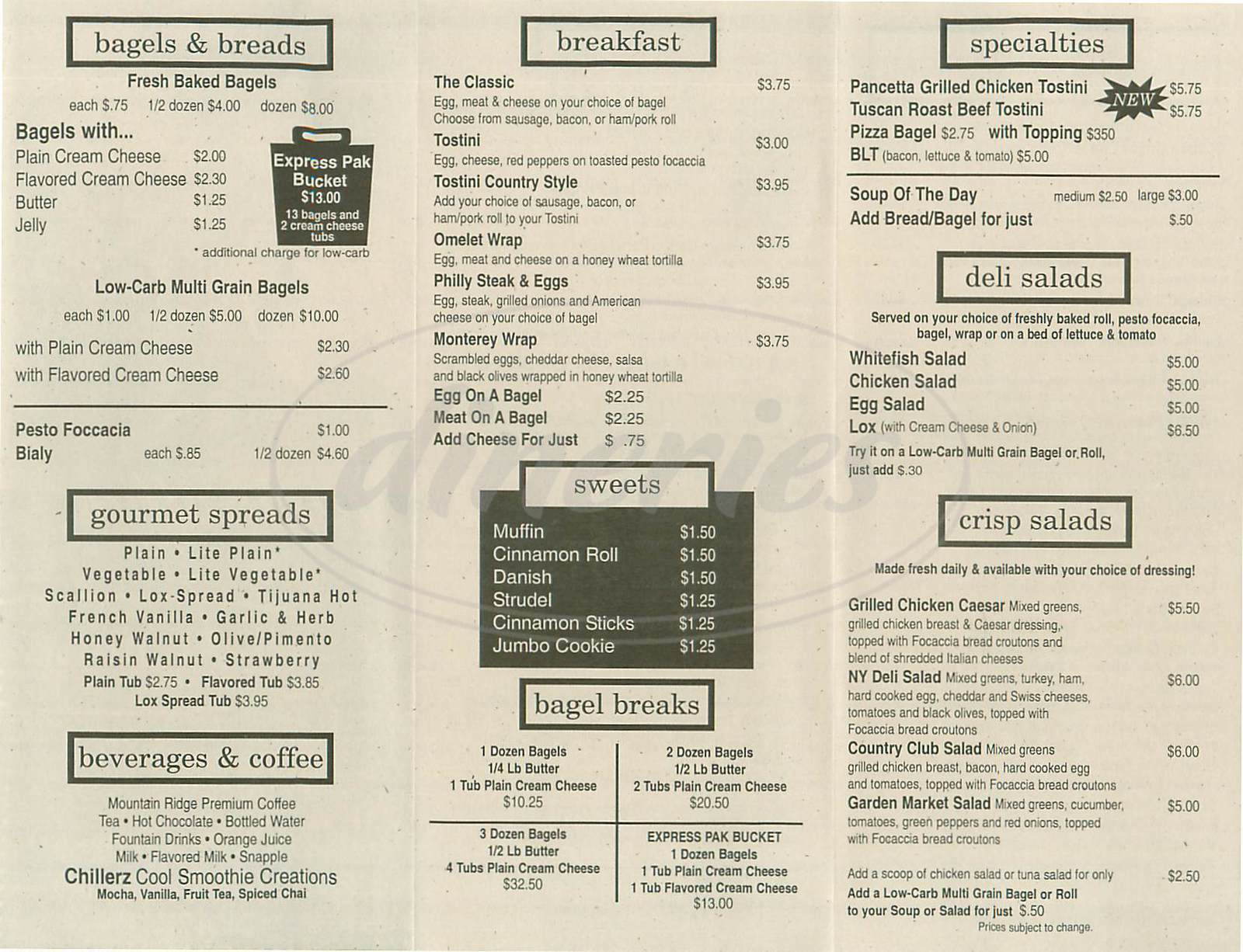 menu for Manhattan Bagel