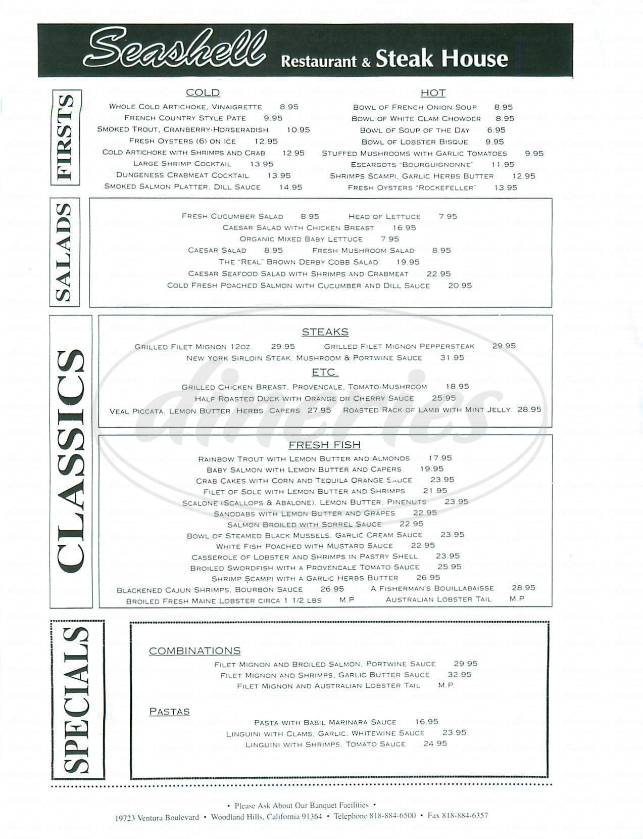 menu for Seashell Restaurant