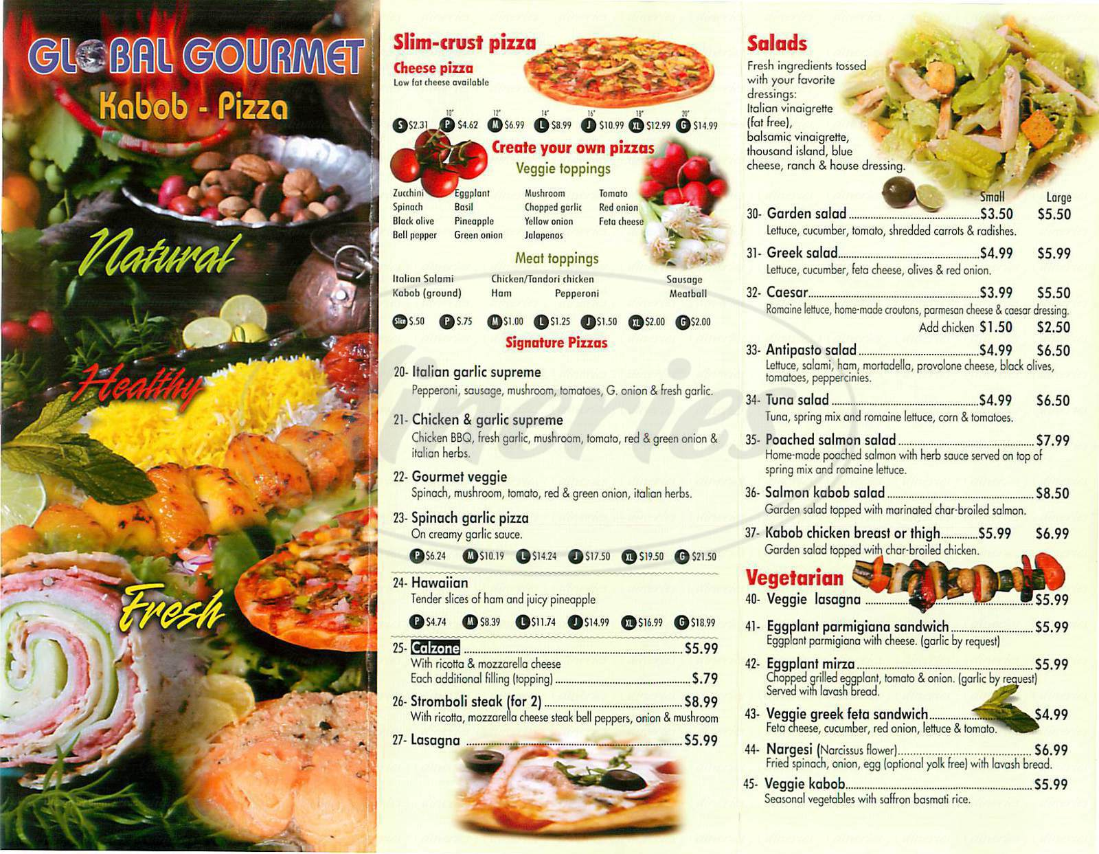 menu for Global Gourmet