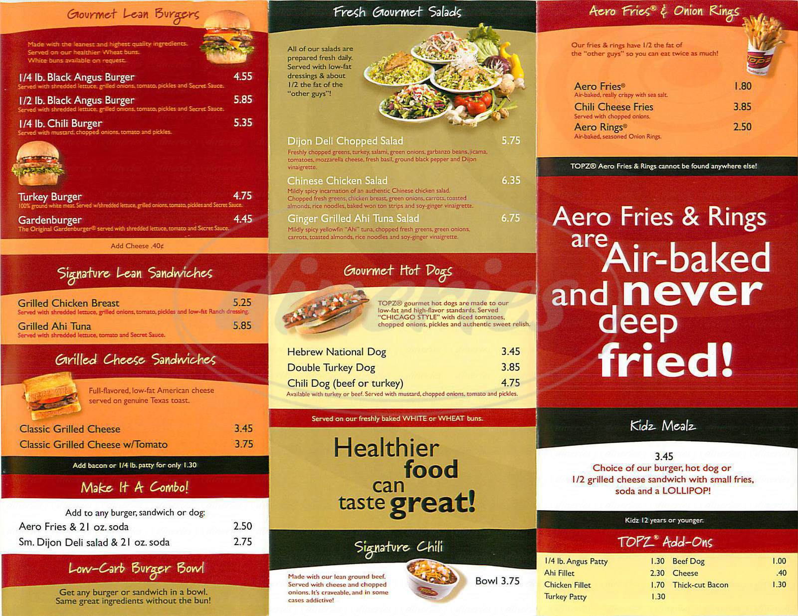 menu for Topz
