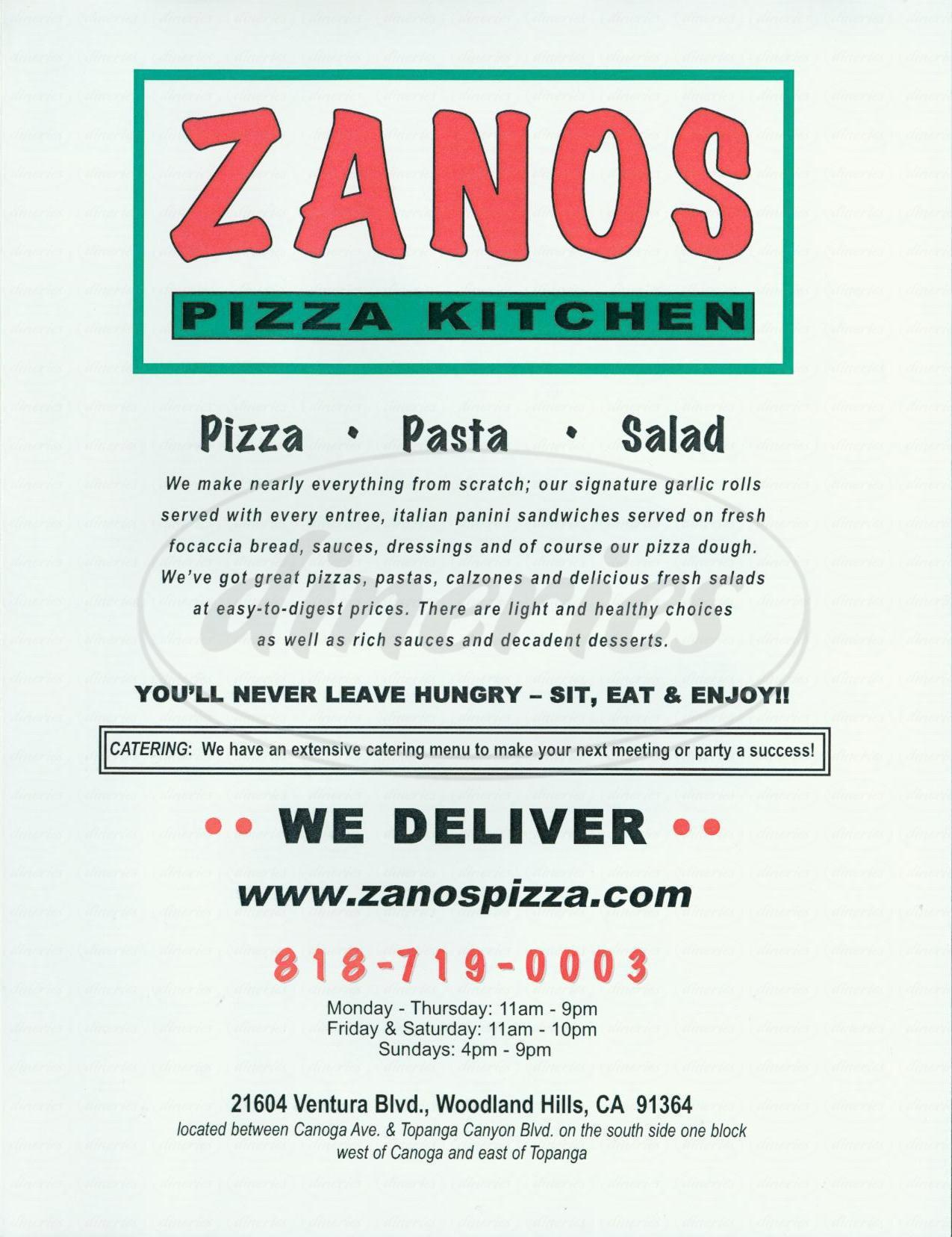 menu for Zanos Pizza Kitchen