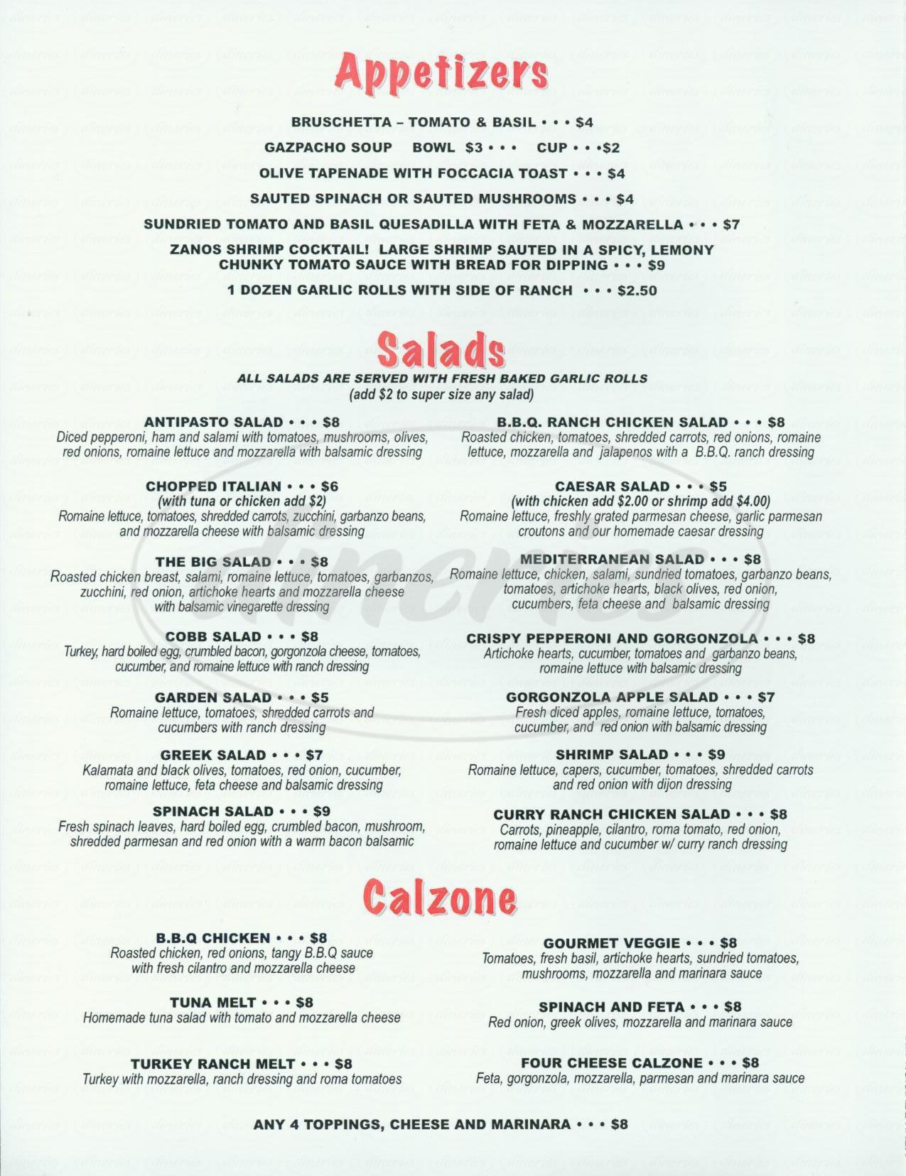 Zanos Pizza Kitchen Menu Woodland Hills Dineries