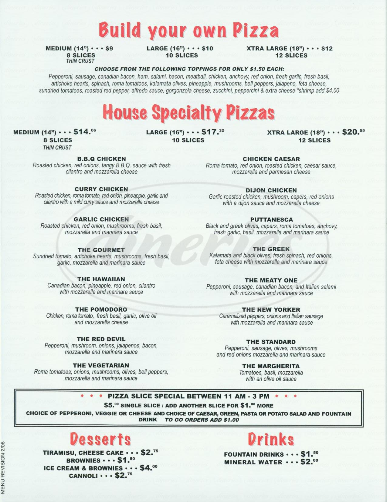 menu for Zanos Pizza Kitchen