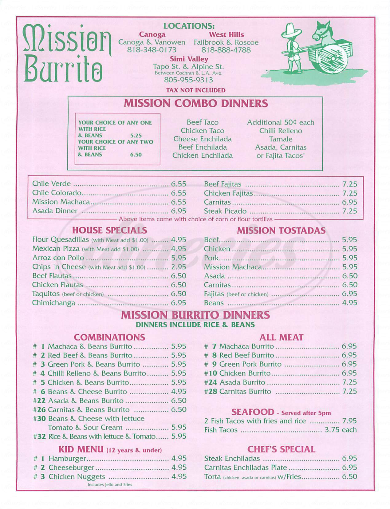 menu for Mission Burrito