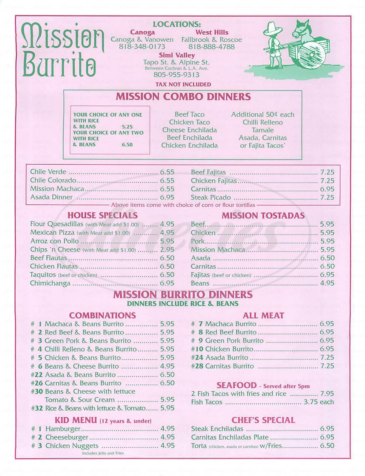 menu for Mission Burrito