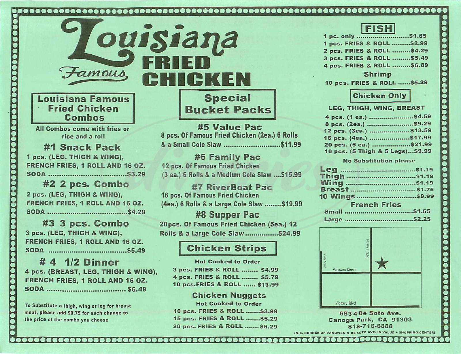 menu for Louisiana Fried Chicken