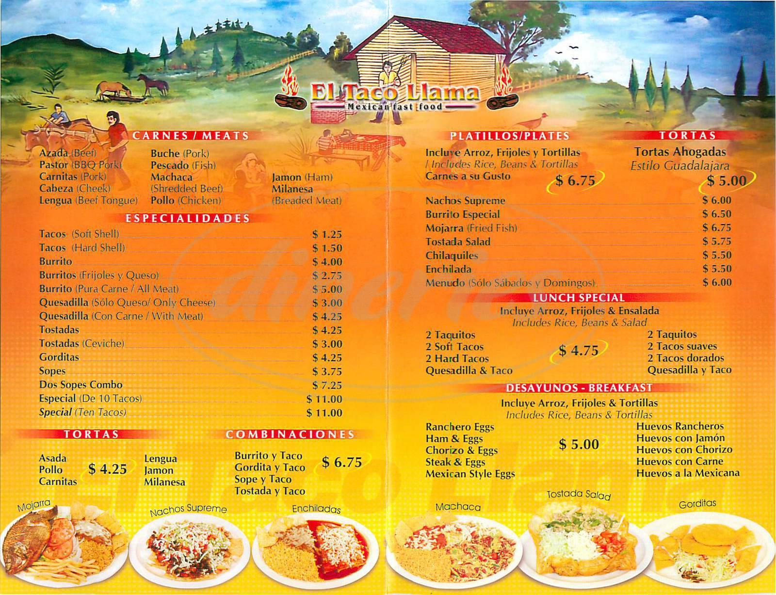 menu for El Taco Llama