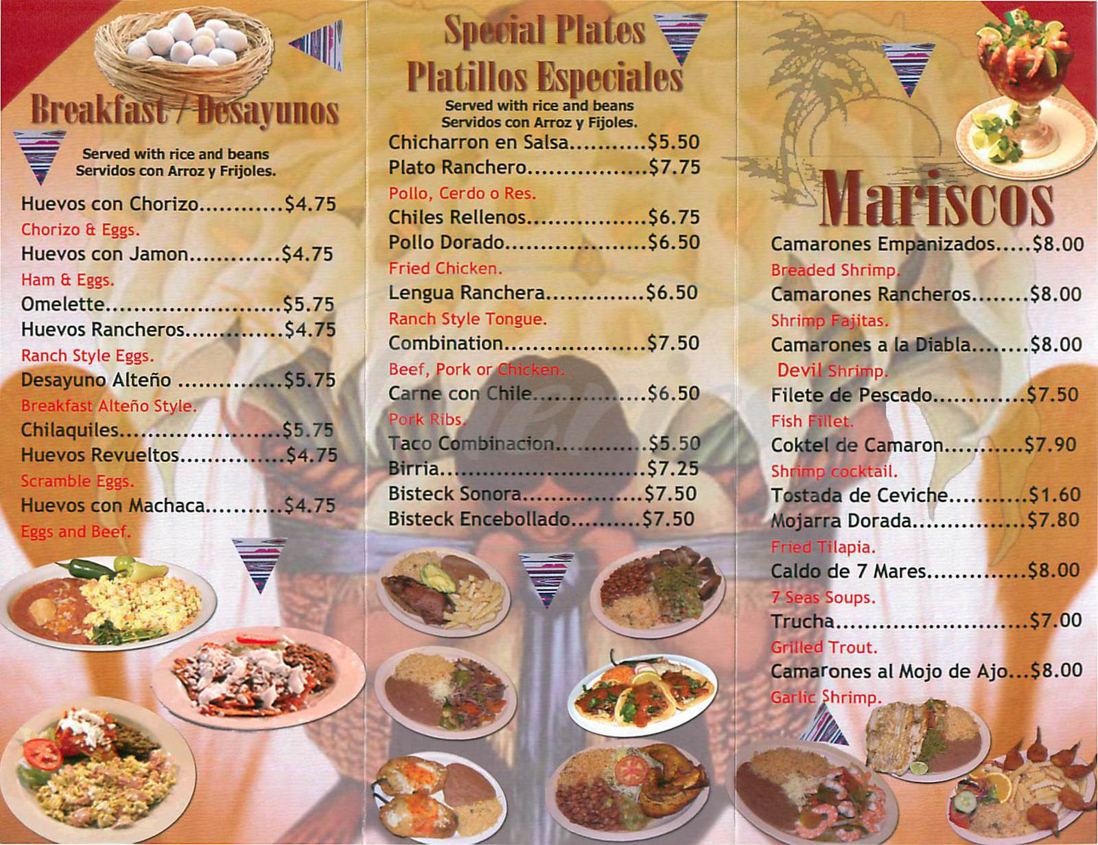 menu for Taqueria Los Altenos