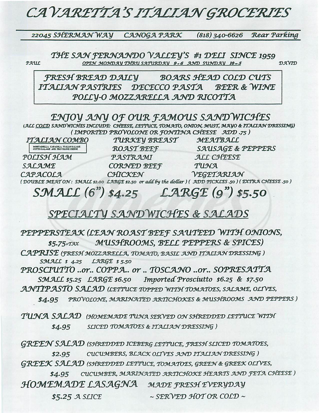 menu for Cavaretta's Deli