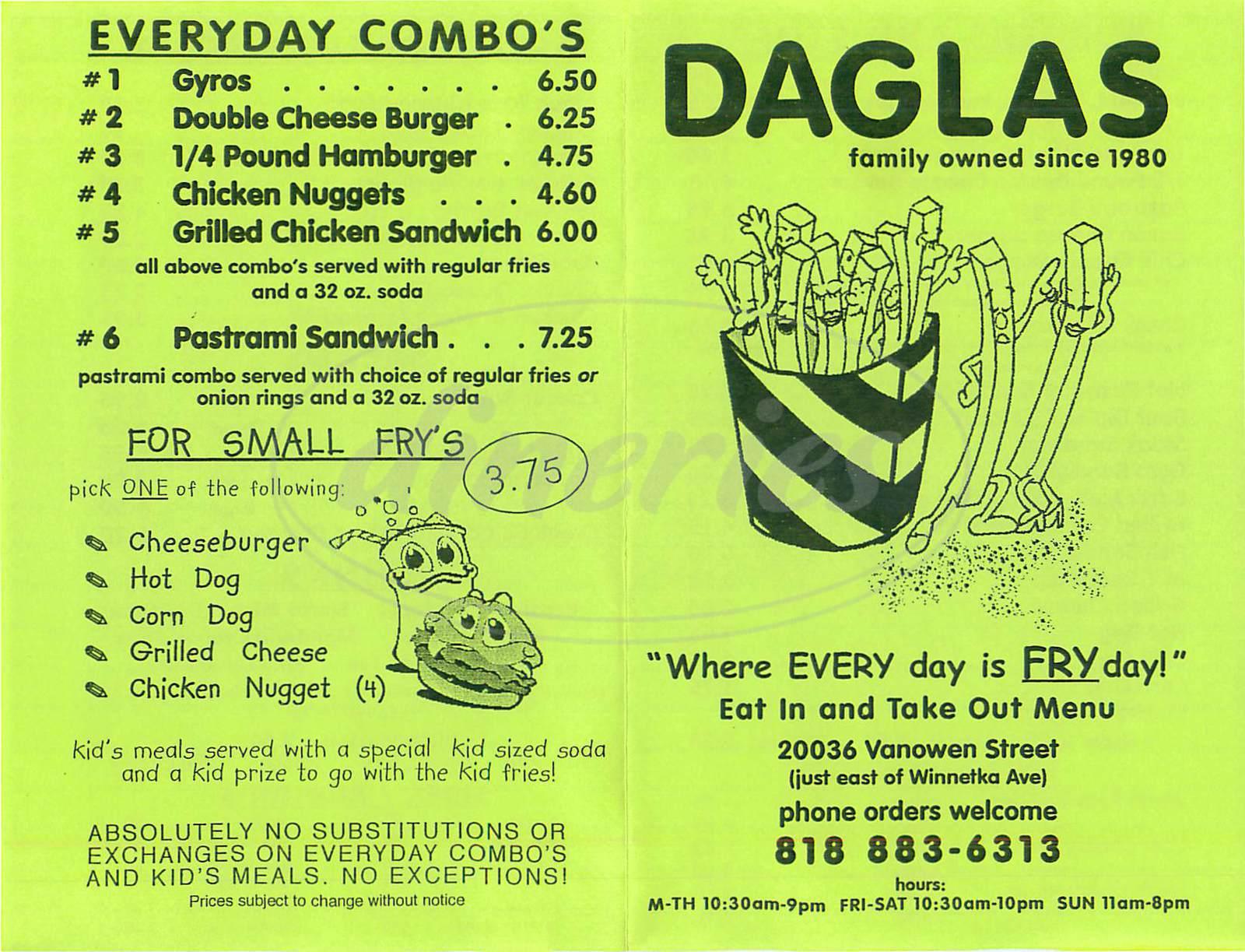 menu for Daglas