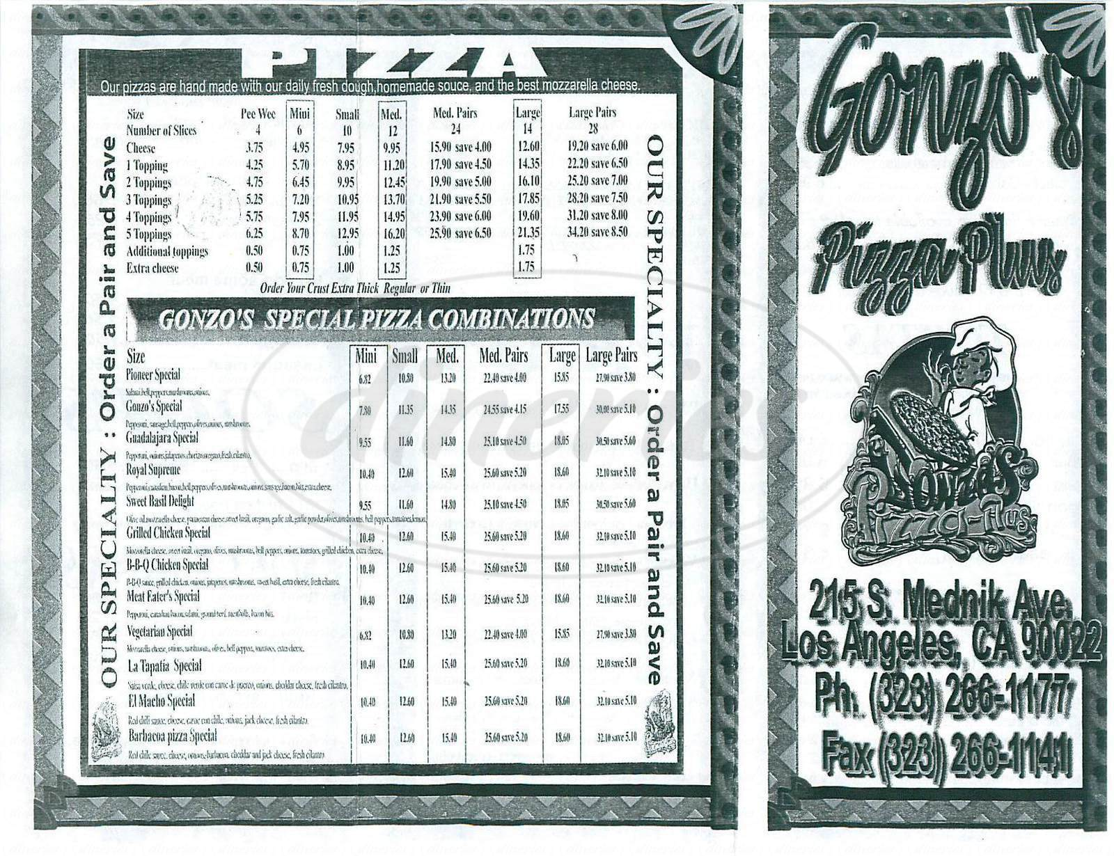 menu for Gonzo's Pizza Plus