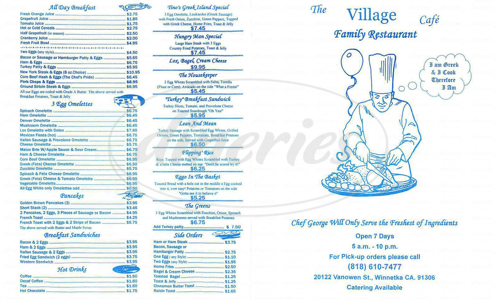 menu for The Village Cafe