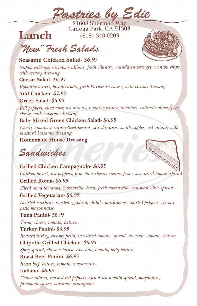 menu for Pastries by Edie