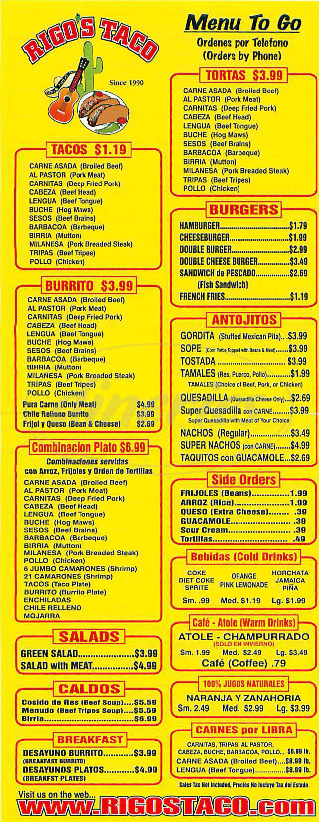 menu for Rigo's Tacos