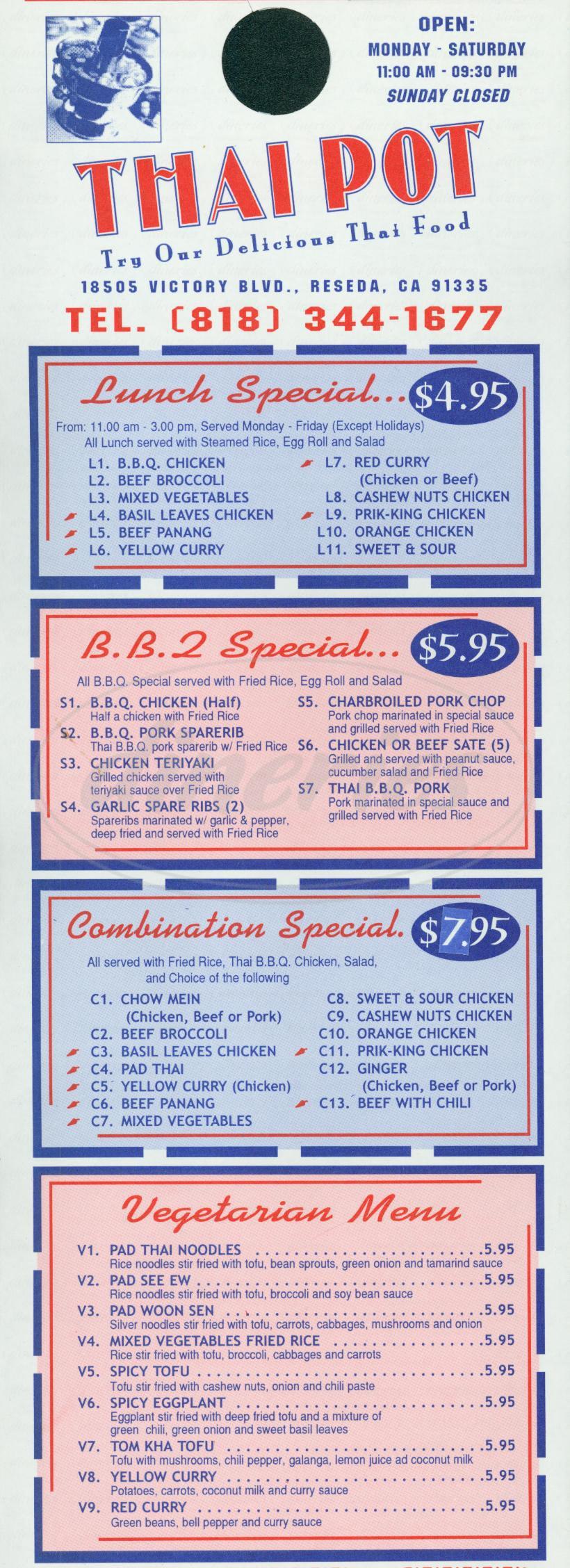 menu for Thai Pot