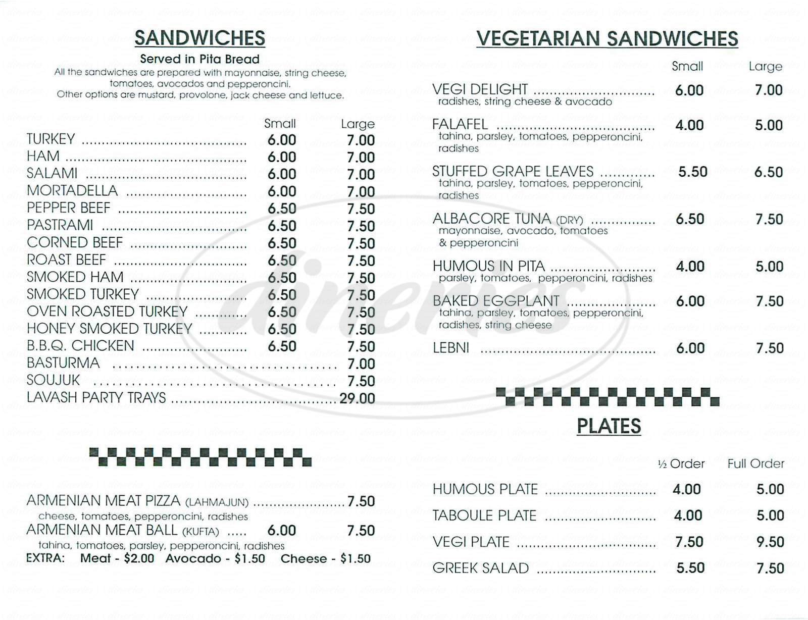 menu for Armenian Deli
