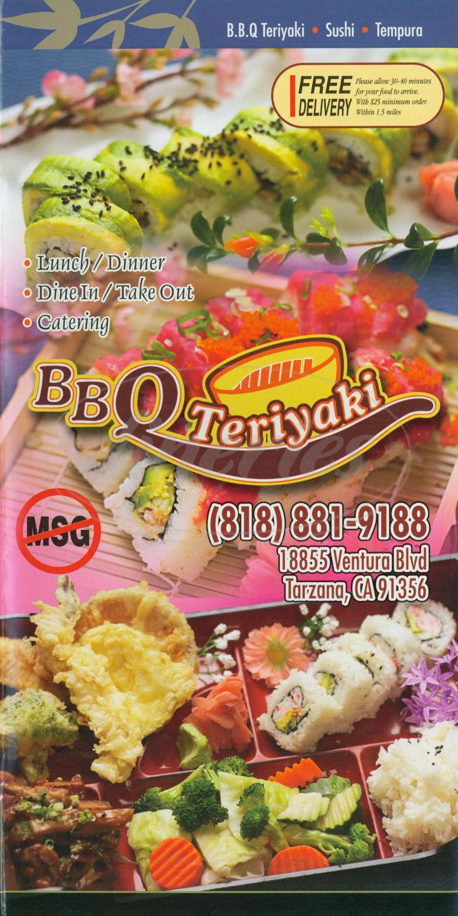 menu for BBQ Teriyaki