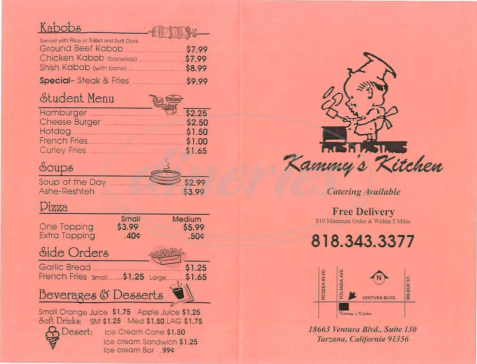 menu for Kammy's Kitchen