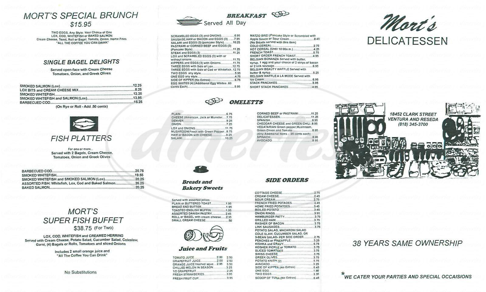 menu for Mort's Deli