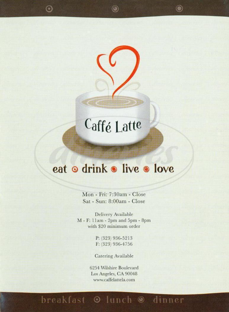 menu for Caffe Latte
