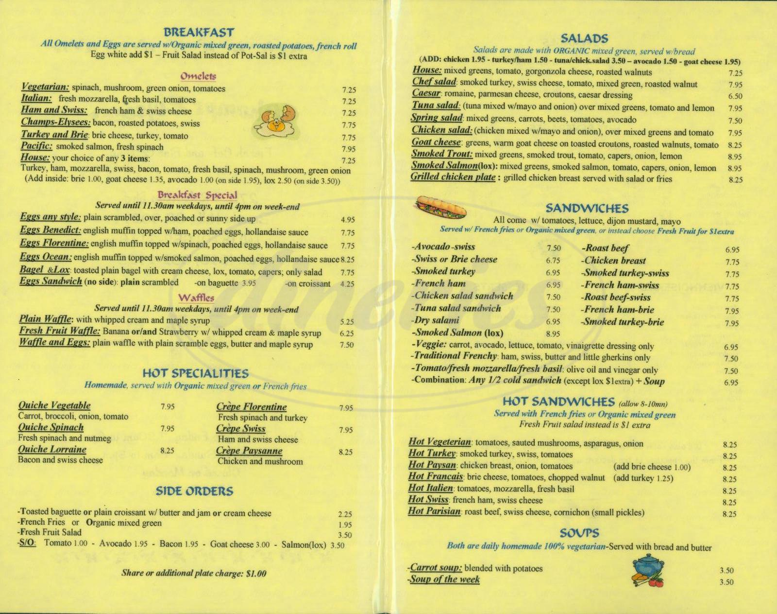 menu for Champs Elysees