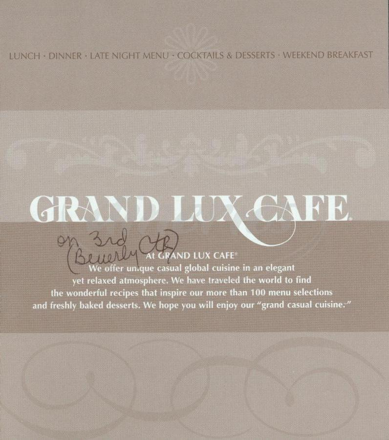 Menu Prices For Grand Lux Cafe